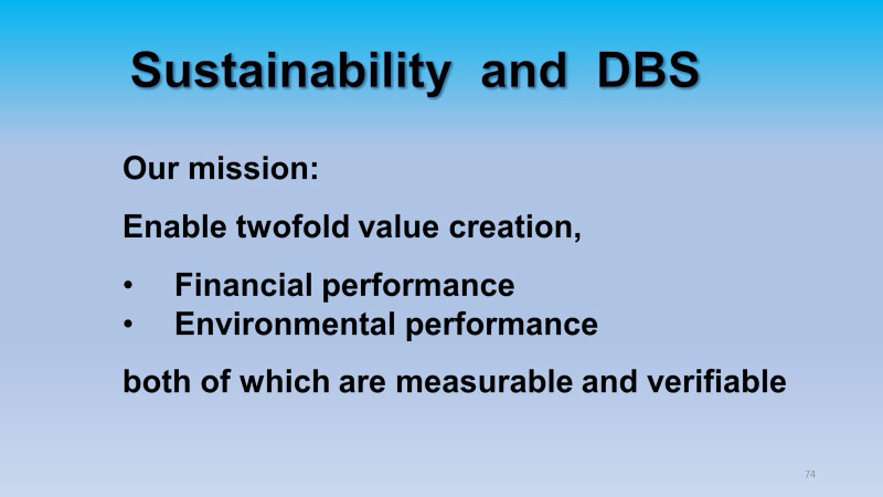Sustainability and DBS